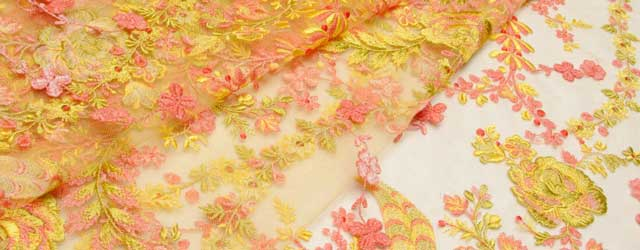 Floral applique tulle fabric