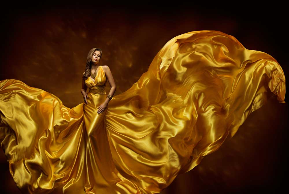 Golden silk satin fabric