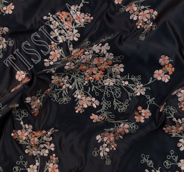 Designer Embroidered Silk Duchesse #3