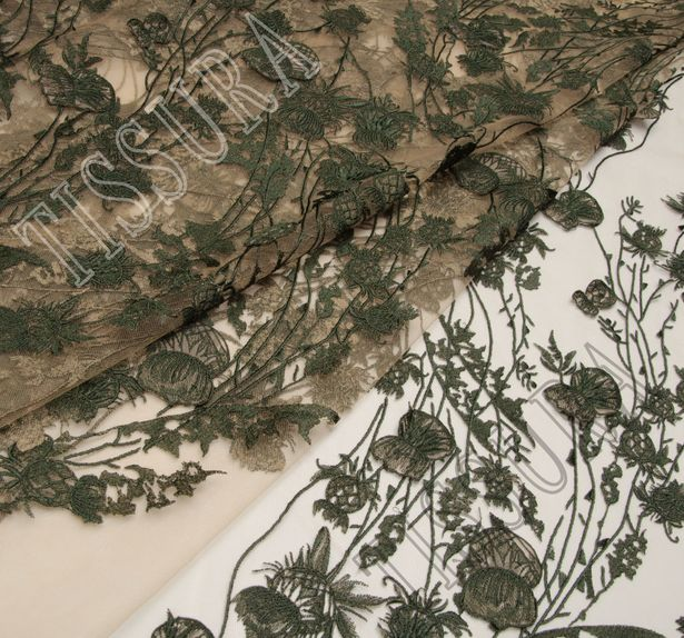 Thistle Applique Embroidered Tulle #3