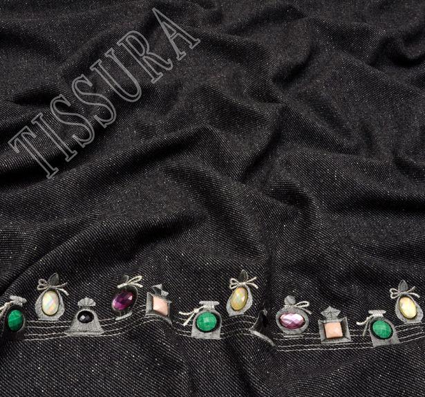 Rhinestone Embroidered Wool #4