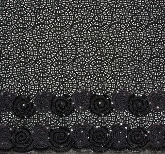 Spiral Ribbon & Bead Sequined Lace #1
