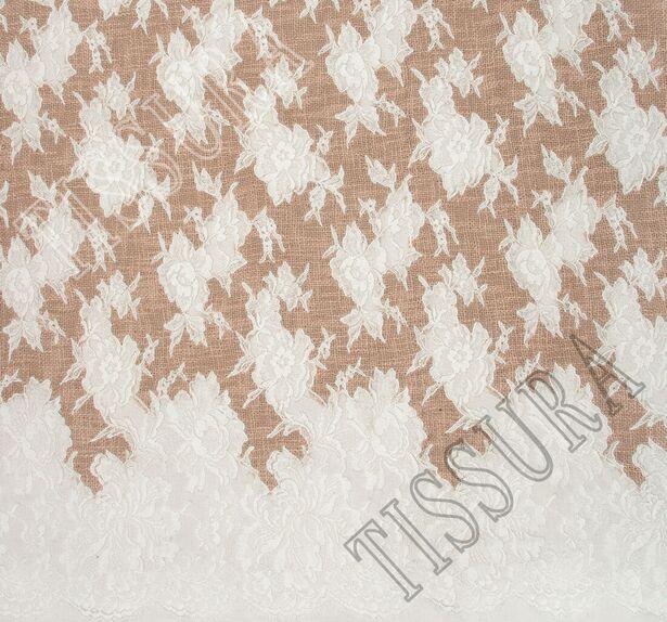 Lace Appliqued Boucle Fabric #3