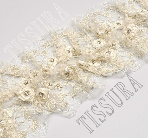 Rhinestone Applique Lace Trim  #4