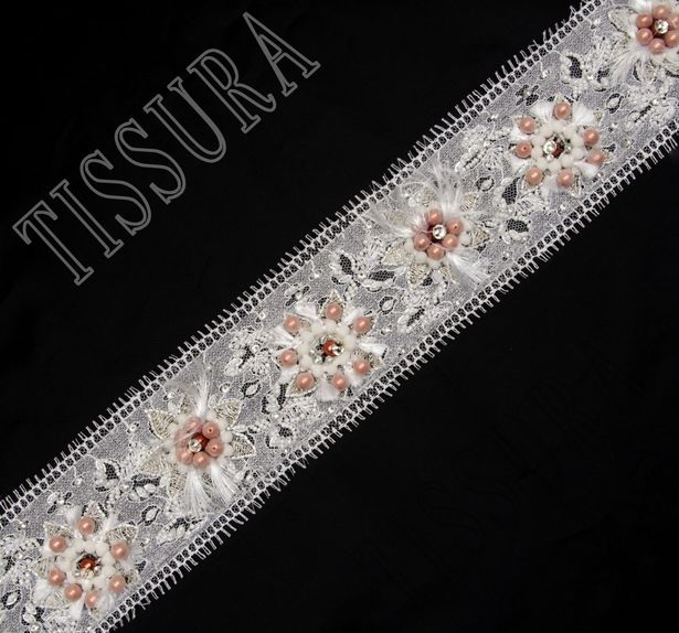 Beaded Chantilly Lace Trim #3