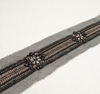 Embroidered Copper Patch Trim #1