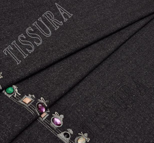 Rhinestone Embroidered Wool #1