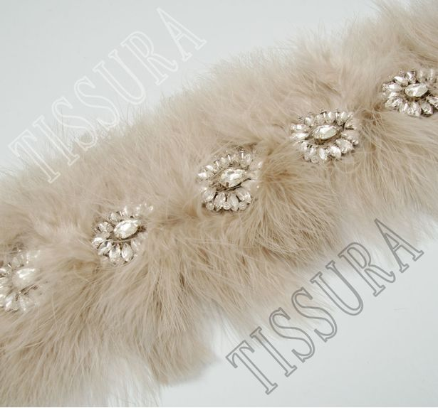 Feather & Rhinestone Embroidered Trim #1