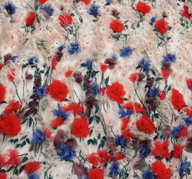 Floral Applique Beaded Tulle #4