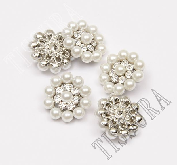 Pearl Rhinestone Buttons #3