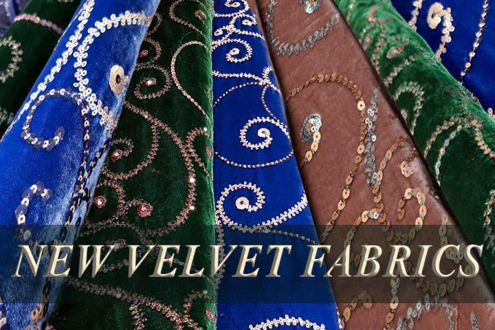 Embroidered velvet fabrics