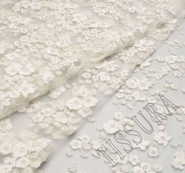 Flower Applique Sequined & Beaded Tulle #1