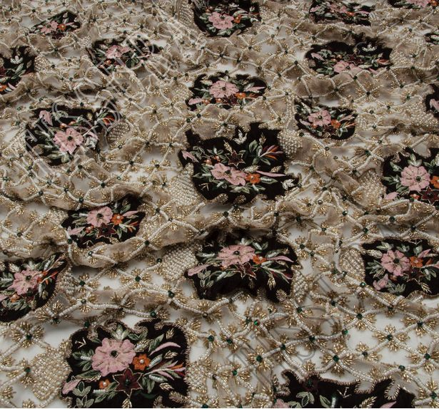 Flower Applique Beaded Tulle #4