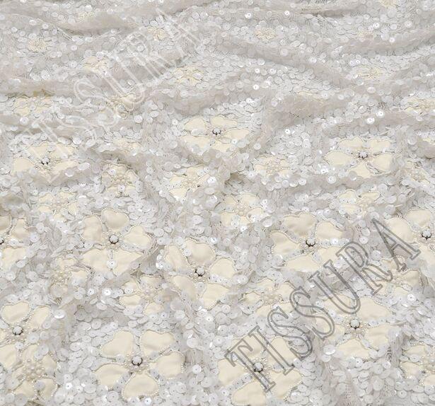 Faux Leather Applique Sequined Lace #1