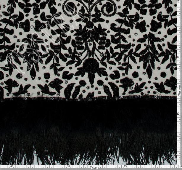 Velvet Applique Sequin Feather Tulle #2