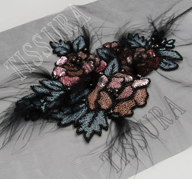 Sequin, Bead & Feather Patch #1