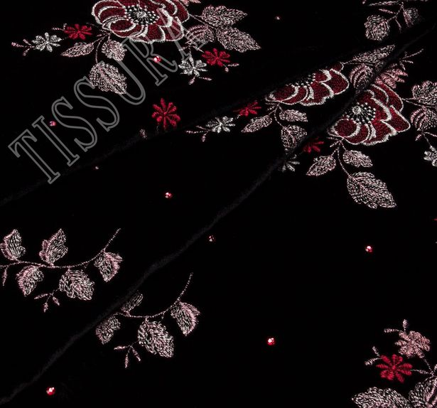 Embroidered Velvet with Swarovski Crystals #1