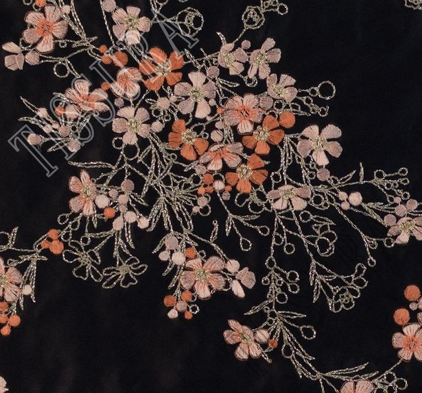 Designer Embroidered Silk Duchesse #4