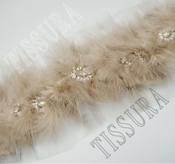 Feather & Rhinestone Embroidered Trim #3