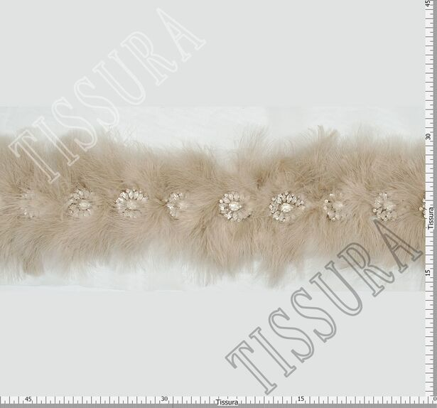 Feather & Rhinestone Embroidered Trim #2