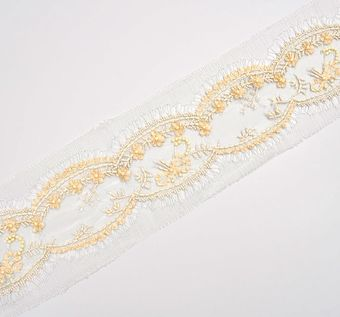 Embroidered Chantilly Lace Trim #1