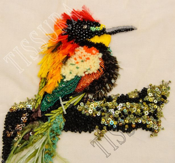 Feather, Bead & Wool Patch #3