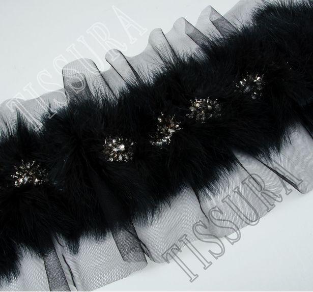 Feather & Rhinestone Embroidered Trim #3