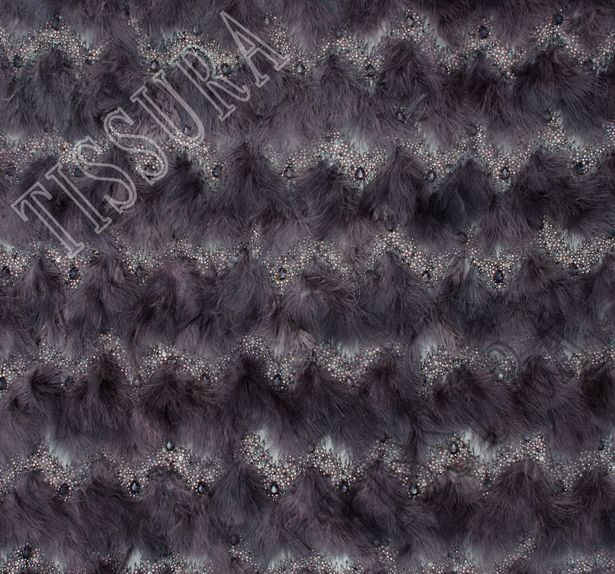 Feather Bead Embroidered Tulle #3