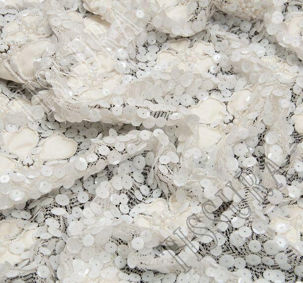 Faux Leather Applique Sequined Lace #3