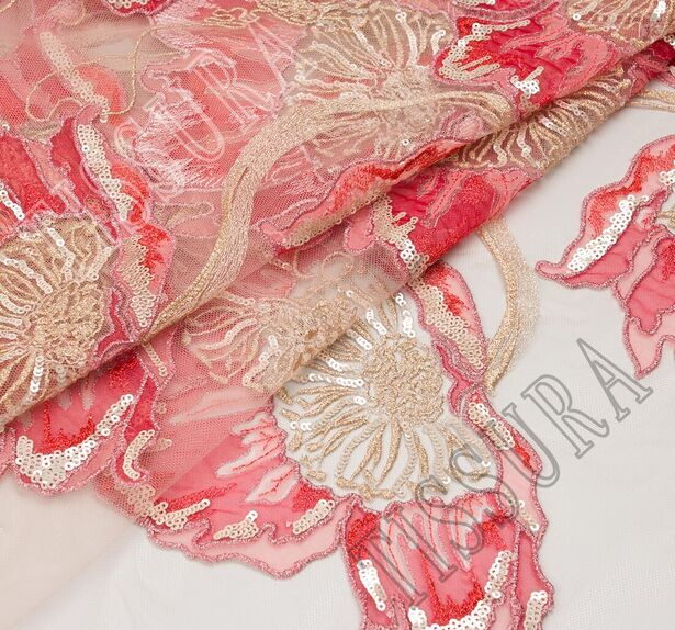 Embroidered Sequined Tulle #1