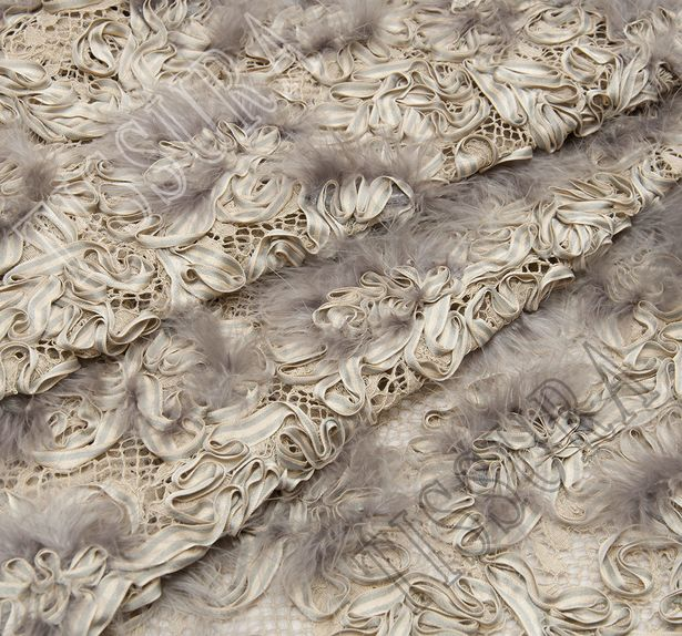 Ribbon & Feather Embroidered Lace #1