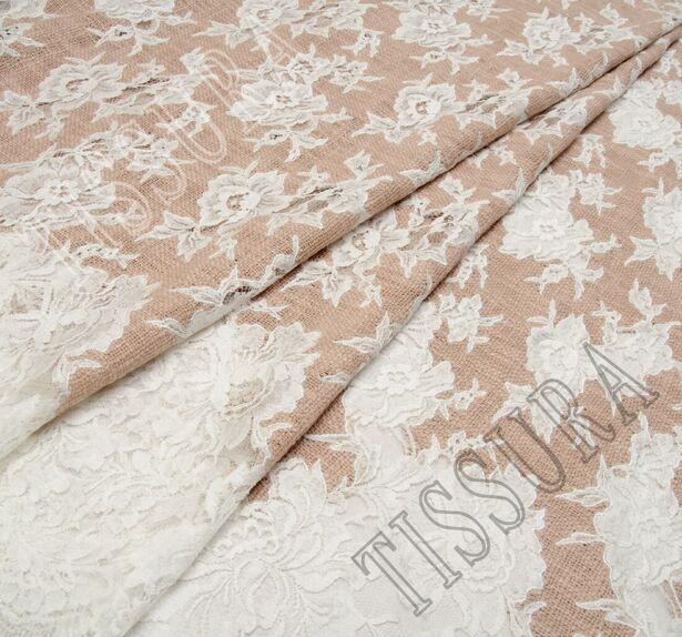 Lace Appliqued Boucle Fabric #1