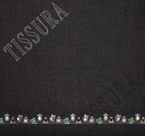 Rhinestone Embroidered Wool #3