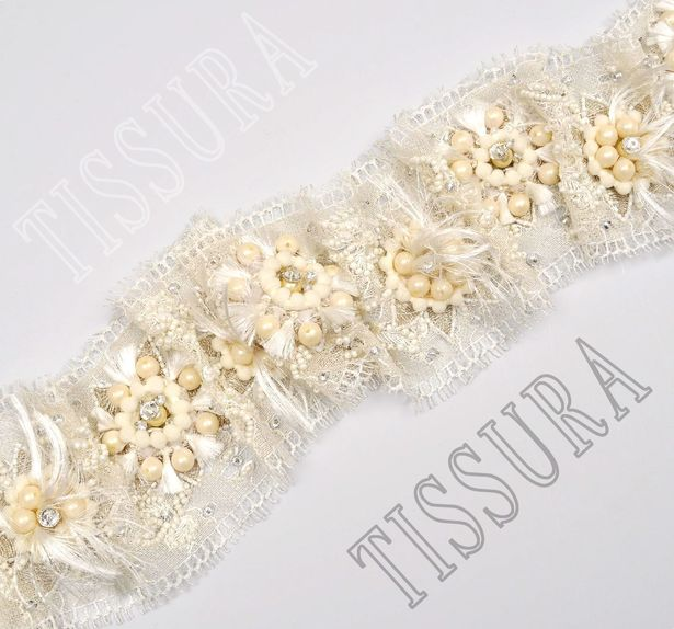 Beaded Chantilly Lace Trim #4