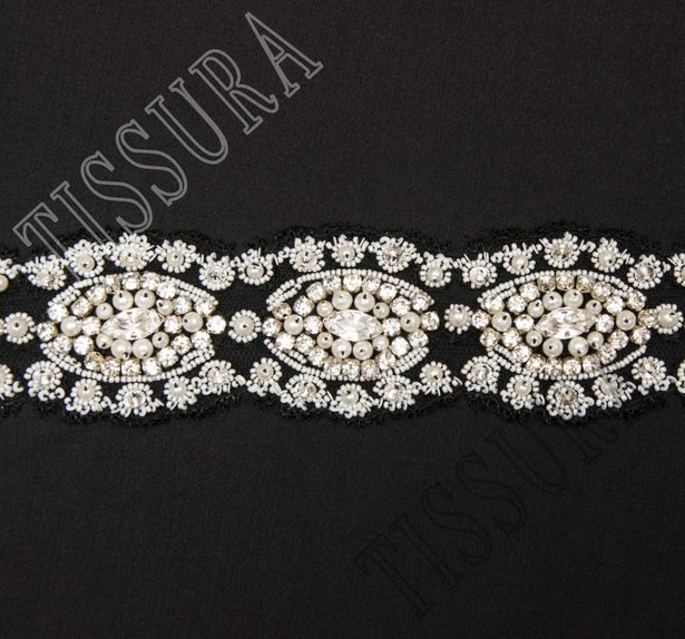 Embroidered Chantilly Lace Trim #3