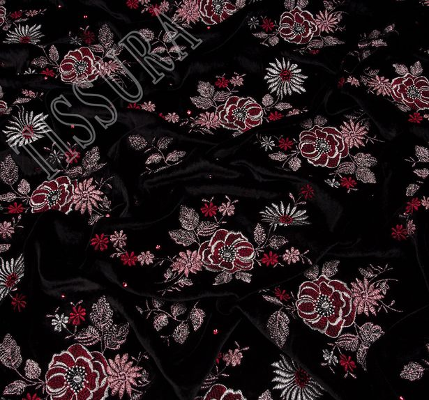 Embroidered Velvet with Swarovski Crystals #2