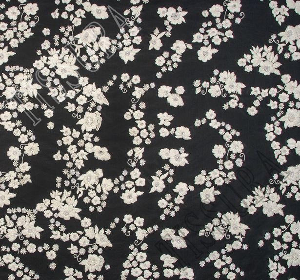 Flower Applique Sequined & Beaded Tulle #3
