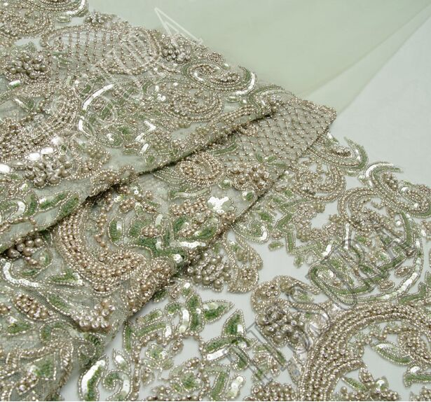 Embroidered Beaded Tulle #1