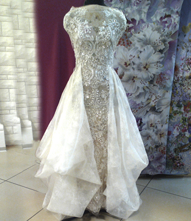 embroidered tulle bridal dress