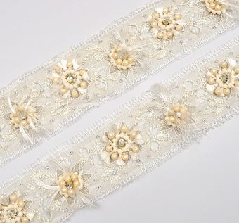 Beaded Chantilly Lace Trim #1