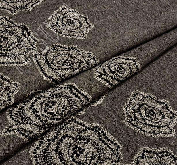 Floral Lace Appliqued Linen #3