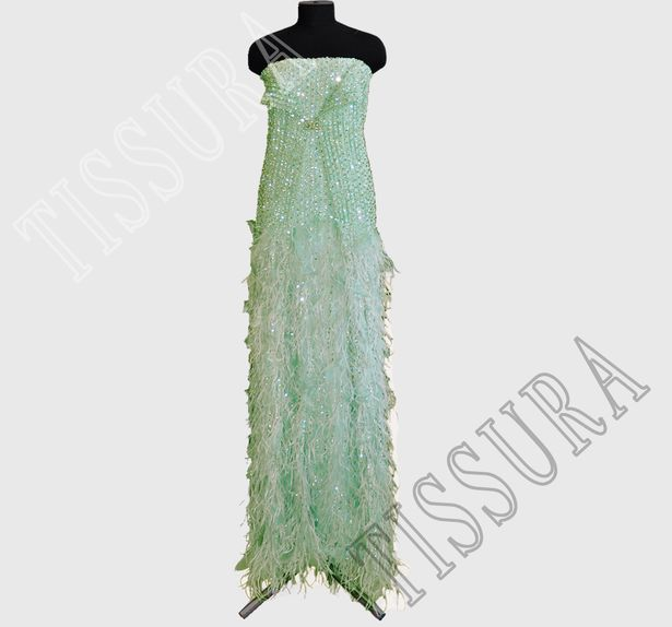 Feather Sequin & Bead Embroidered Tulle #4