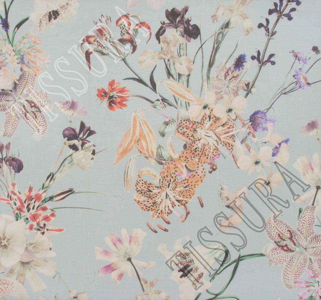 Floral Print Blue 100/% Silk Linen Blend Fabric By The 138 x 140 cm