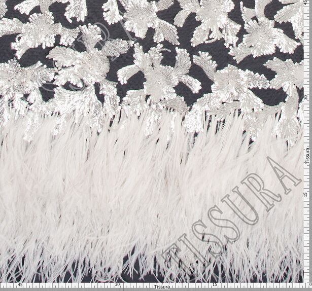 Feather & Sequin Embroidered Tulle #2