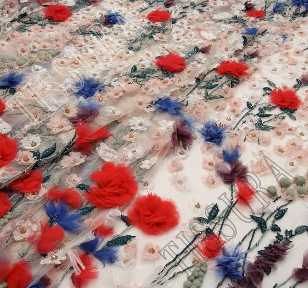 Floral Applique Beaded Tulle #1