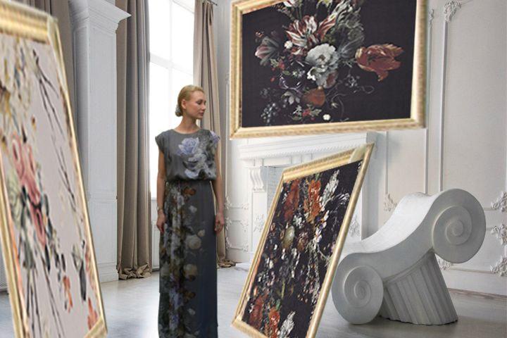 Swiss printed silk fabric