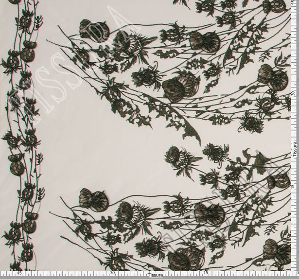 Thistle Applique Embroidered Tulle #2