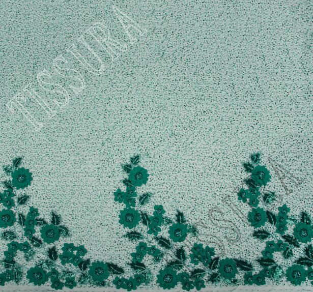 Floral Applique Embroidered Tulle #3