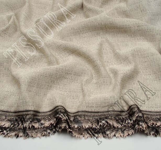Tweed Fabric with Lace & Taffeta Border #4