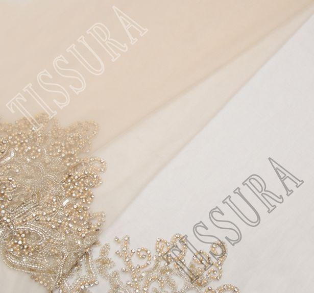 Sequin, Bead & Rhinestone Embroidered Tulle #1